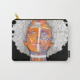 Portrait of an African Queen with white Eyes and awesome Afro Carry-All Pouch