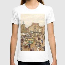Flower Market, Paris, France floral landscape painting by Firmin Girard T-shirt