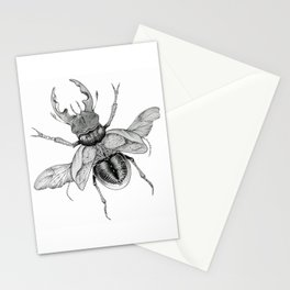 Dotwork Flying Beetle Illustration Stationery Cards