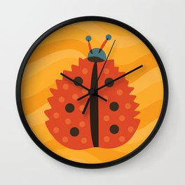 Orange Ladybug Autumn Leaf Wall Clock