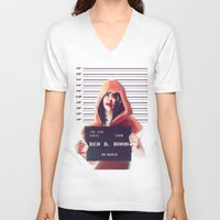 red hood V-neck T-shirts featuring Red Riding Hood by adroverart