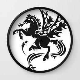 Fiery Pegasus - black Wall Clock
