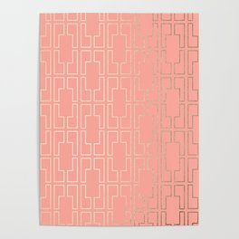 Simply Mid-Century in White Gold Sands on Salmon Pink Poster