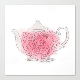 Floral tea pot Canvas Print