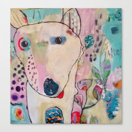 Dog Bounding Through Flower Garden Canvas Print