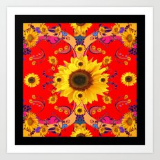 Exotic Red Art & Yellow Sunflowers Pattern Design Art Print