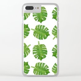 Dancing Monstera Leaves III Clear iPhone Case