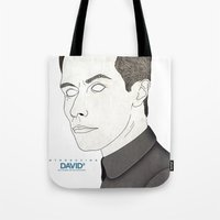 prometheus Tote Bags featuring Michael Fassbender Prometheus (David 8) by Chris Arrowsmith