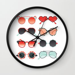 Sunglasses Collection – Red & Mint Palette Wall Clock