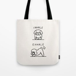 Inhale Exhale Toy Poodle Tote Bag