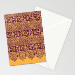 crochet lace border in warm mood Stationery Cards