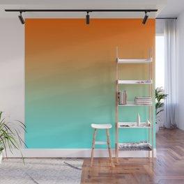 Modern Bright Orange and Light Aqua Ombre Wall Mural