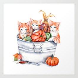 Harvest Kittens Art Print