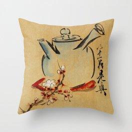 Vintage Japanese Teapot Painting Throw Pillow