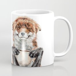 """ Morning fox "" Red fox with her morning coffee Coffee Mug"