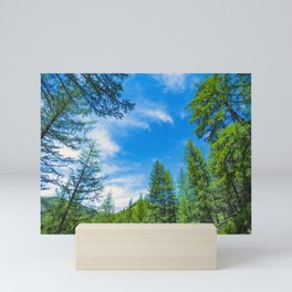 Siberian mountain taiga, mountains in the clouds, Altai Mini Art Print