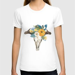 Bohemian bull skull and antlers with flowers T-shirt