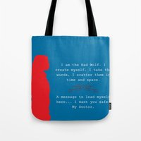 bad wolf Tote Bags featuring Bad Wolf by Grace Thanda