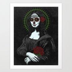 Viva La Mona Muerte Lisa Art Print
