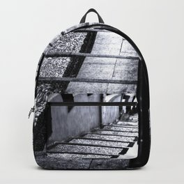 lines and stairs in black and white Backpack