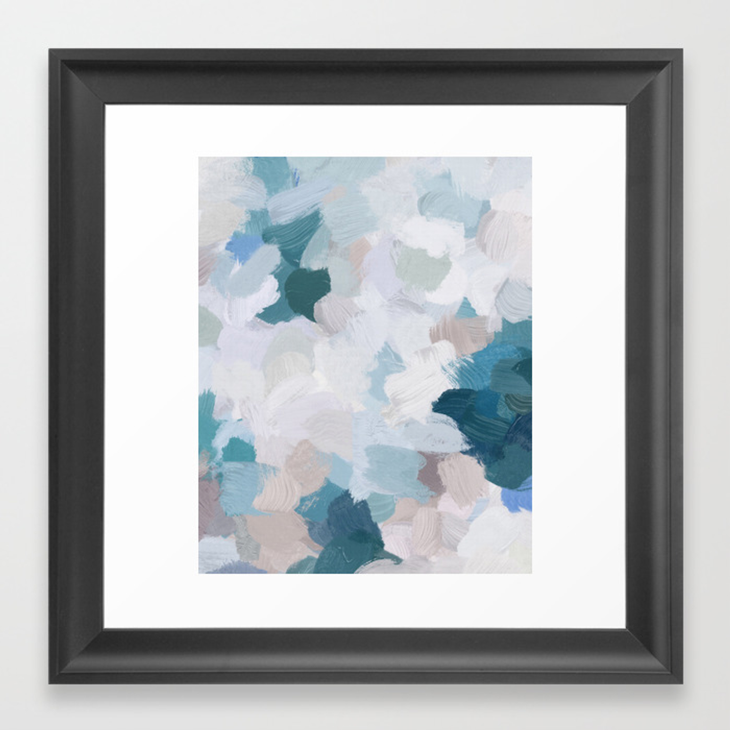 Turquoise navy blue blush pink gray white abstract painting modern wall art digital print framed art print