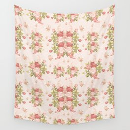 Romantic Vintage Roses and Hearts with Roses Wall Tapestry