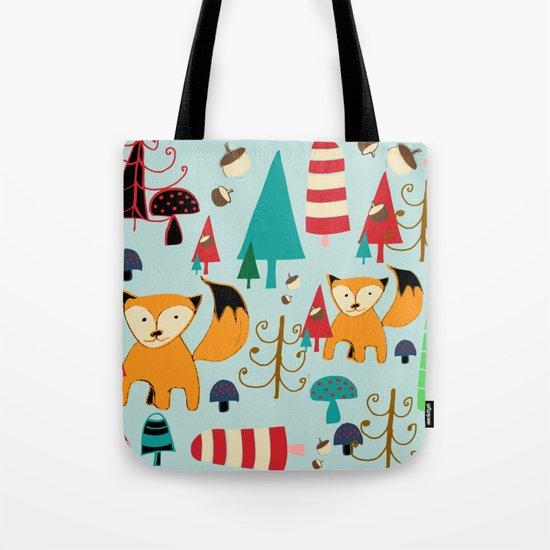 Woodland fox blue Tote Bag