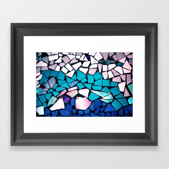 Turquoise and blue mosaic-(photograph) Framed Art Print
