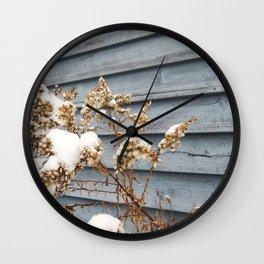 Snowy Flowers Wall Clock