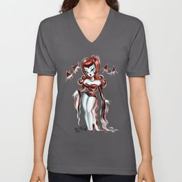 Vampiress with Bats Unisex V-Neck