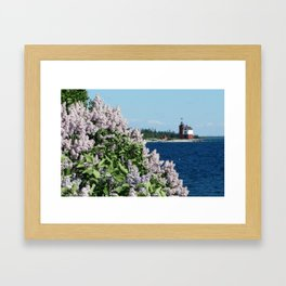 Round Island Lighthouse and Lilacs Framed Art Print