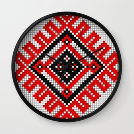 romanian traditional stitch design Wall Clock