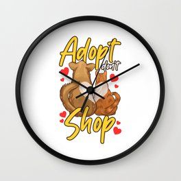 Cute Cat & Dog Adopt Don't Shop Wall Clock
