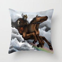Odin and Sleipnir Throw Pillow