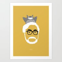 hayao miyazaki Art Prints featuring Miyazaki, 1941 by Jarvis Glasses