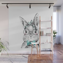 Bunny with Scarf and Bowtie Wall Mural