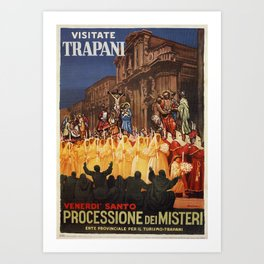 Italian travel ad Christian Easter procession Trapani Art Print