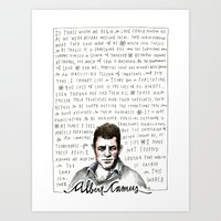 camus Art Prints featuring Camus on Happiness and Love by wendy macnaughton