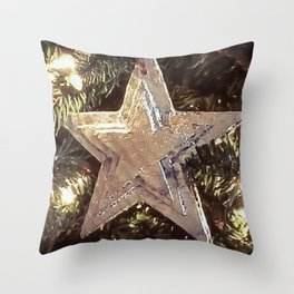 Silver Star on Christmas Tree Throw Pillow
