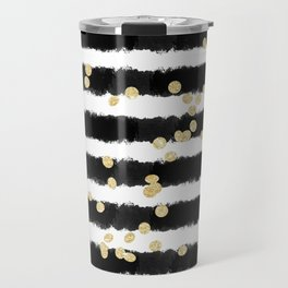 Modern black watercolor stripes chic gold confetti Travel Mug