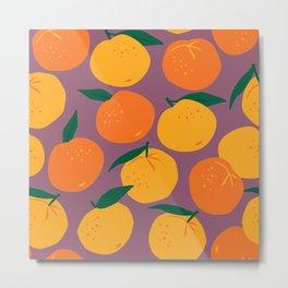 Mandarin Oranges on Plum  Metal Print