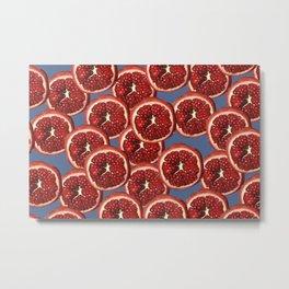 Pomegranate fruit slices pattern blue Metal Print