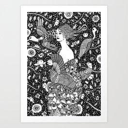Gustav Klimt - Lady with fan Art Print