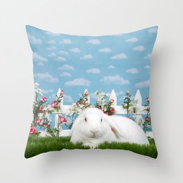 White lop eared bunny in a flower garden Throw Pillow