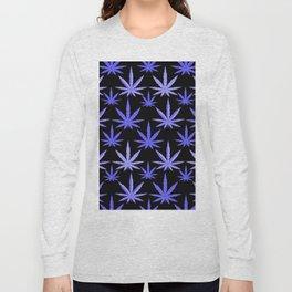 Marijuana Violet Blue Weed Long Sleeve T-shirt