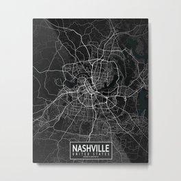 Nashville City Map of the United States - Dark Metal Print