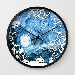 Halloween in Starry Night Wall Clock