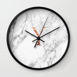 Monogram rose gold marble Y Wall Clock
