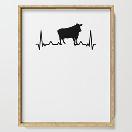 Heartbeat ECG pulse farmer cow cows T-shirt Serving Tray