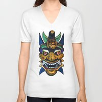 chinese V-neck T-shirts featuring Chinese Mask by Ron Trickett (Rockett Graphics)